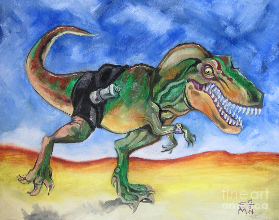 Tyrannosaurus Rex Painting - Sportosaurus by Ellen Marcus
