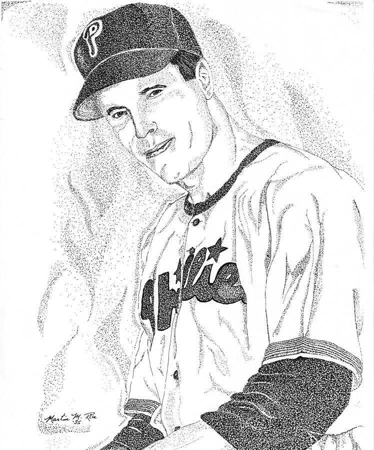 This Image Of Richie Asburn Of The Philadelphia Phillies Took Over 7 Hours To Complete And Has Over 70 Drawing - Sports Portrait by Marty Rice