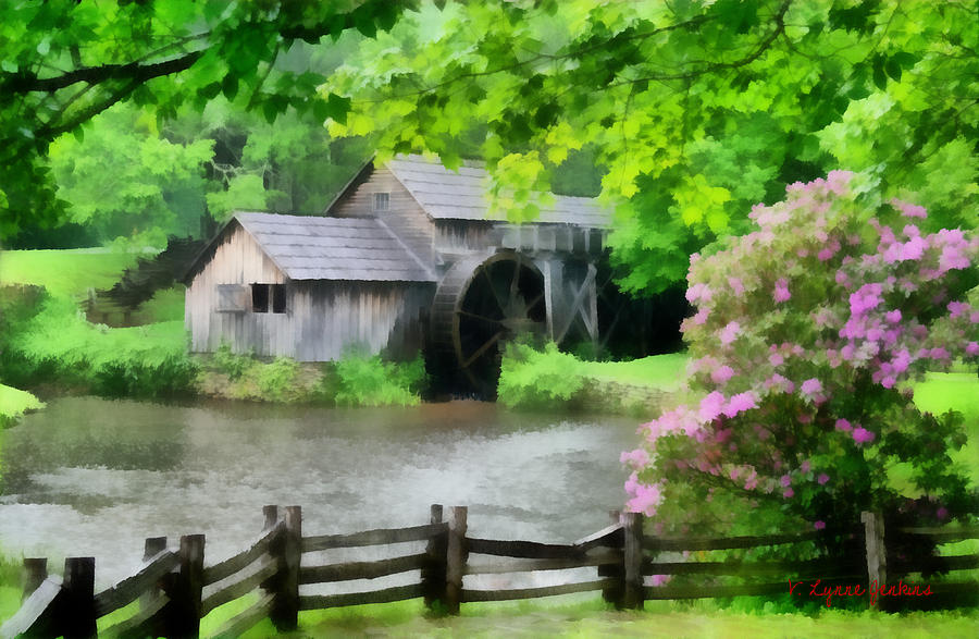 Virginia Painting - Spring At Mabry Mill by Lynne Jenkins