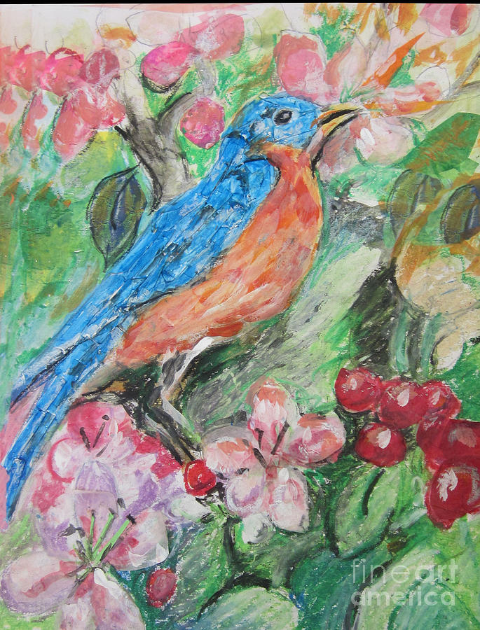 Bluebird Painting - Spring Bluebird Collage by Lyn Vic