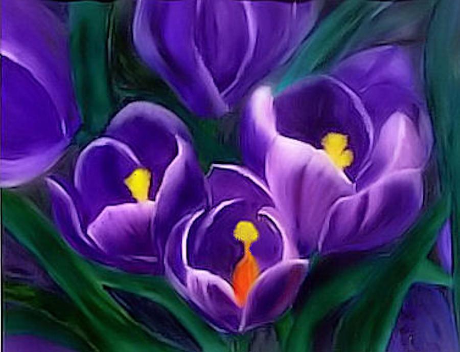 Flowers Painting - Spring Crocus by Alethea McKee