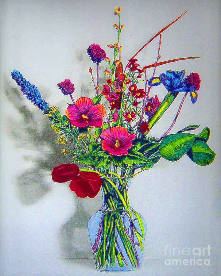 Flowers Photograph - Spring Flowers In Glass Vase by Merton Allen