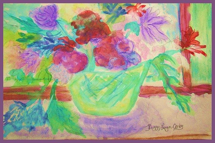 Vibrant Flowers In Pot Painting by Peggy Leyva Conley