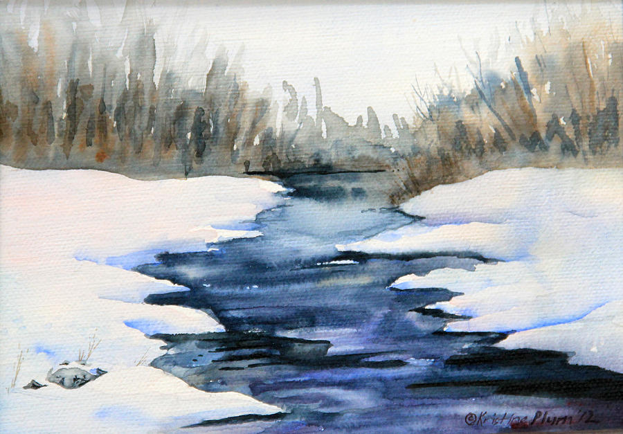 Watercolor Painting - Spring Melt by Kristine Plum
