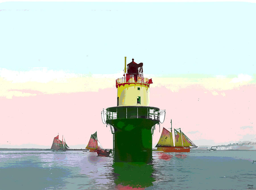 Spring Point Ledge Light Mixed Media - Spring Point Light by Charles Shoup