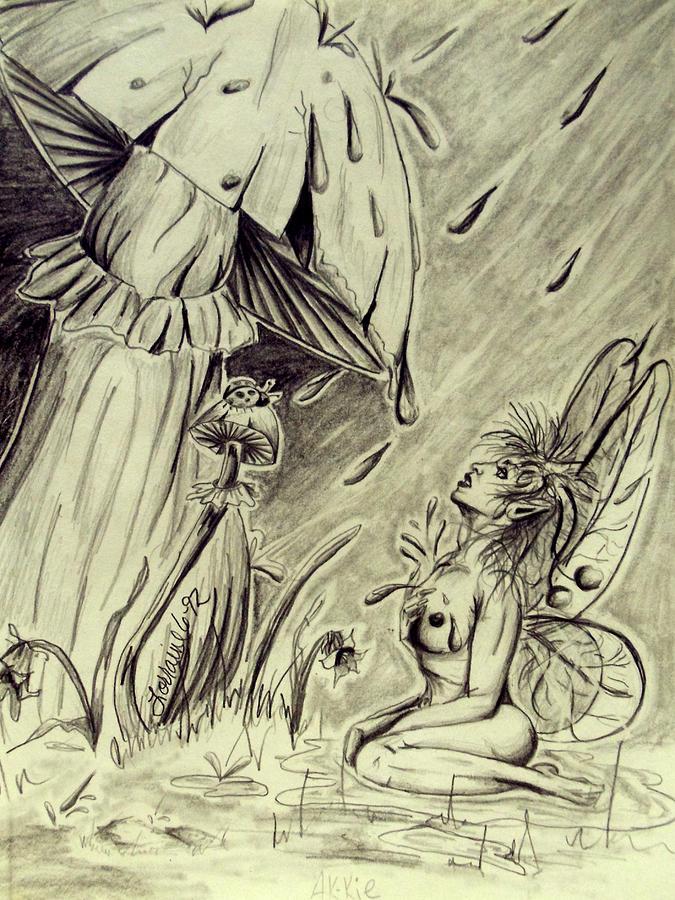 Lorraine Davis Drawing - Spring Shower by Lorraine Davis Martin