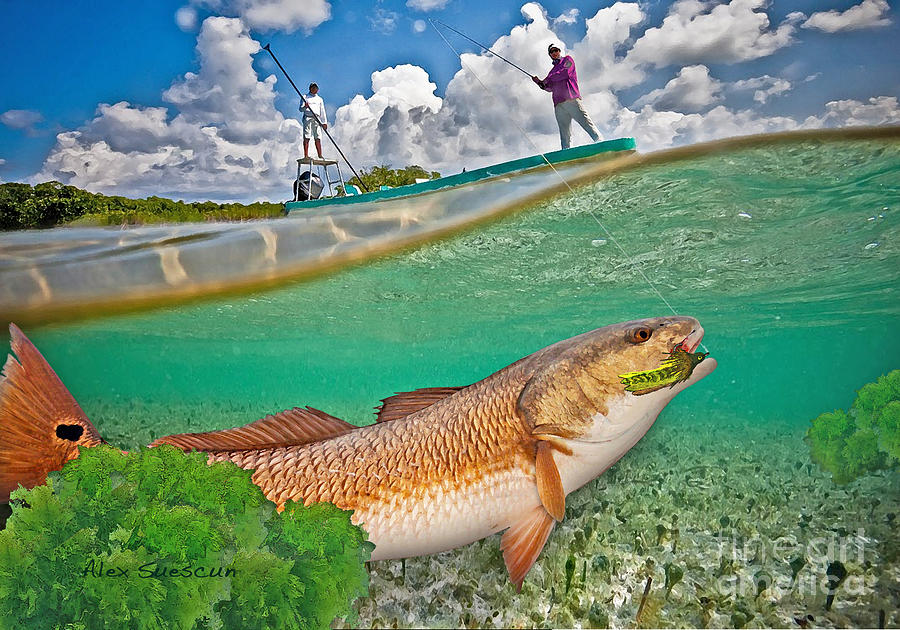 Bonefish Painting - Spring Tide Red by Alex Suescun