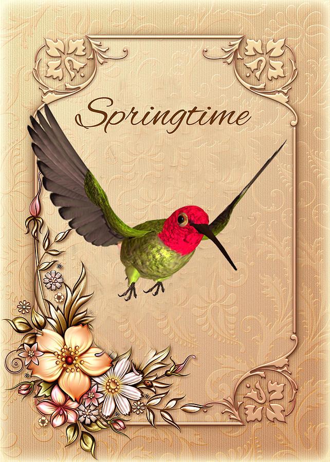 Bird Digital Art - Springtime - Hummingbird by John Junek