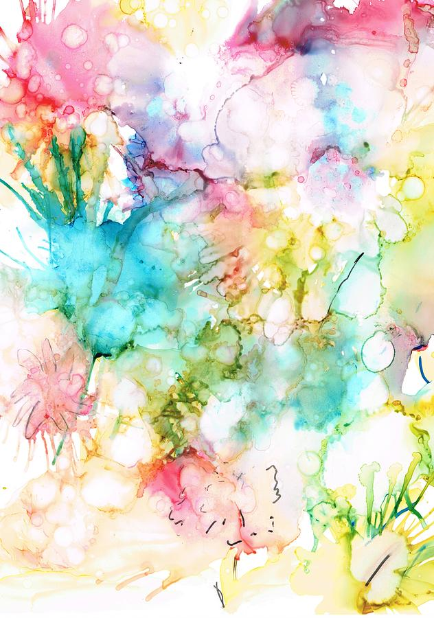 Alcohol Ink Painting - Springtime Blossoms by Christine Crawford