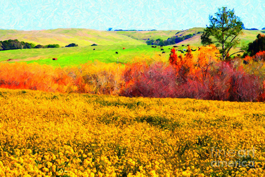 Landscape Photograph - Springtime In The Golden Hills . 7d12402 by Wingsdomain Art and Photography