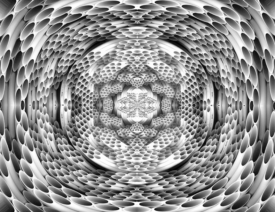 Abstract Digital Art - Square To Oval Abstract Bw by Linda Phelps