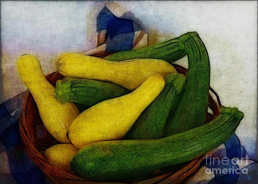Food Photograph - Squash Basket by Judi Bagwell