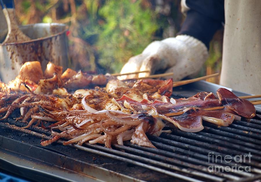 Squid Photograph - Squid Skewers Barbecue by Yali Shi