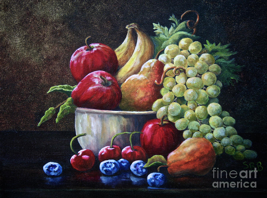 Srb Fruit Bowl Painting By Susan Herber