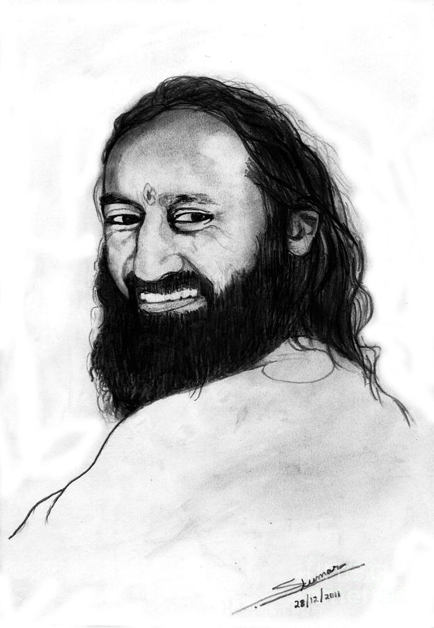 Portrait Drawing - Sri Sri Ravishankar Guruji by Shashi Kumar