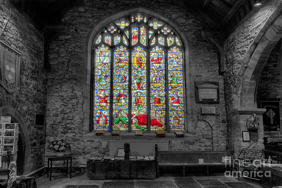 Architecture Photograph - St Dyfnog Window by Adrian Evans