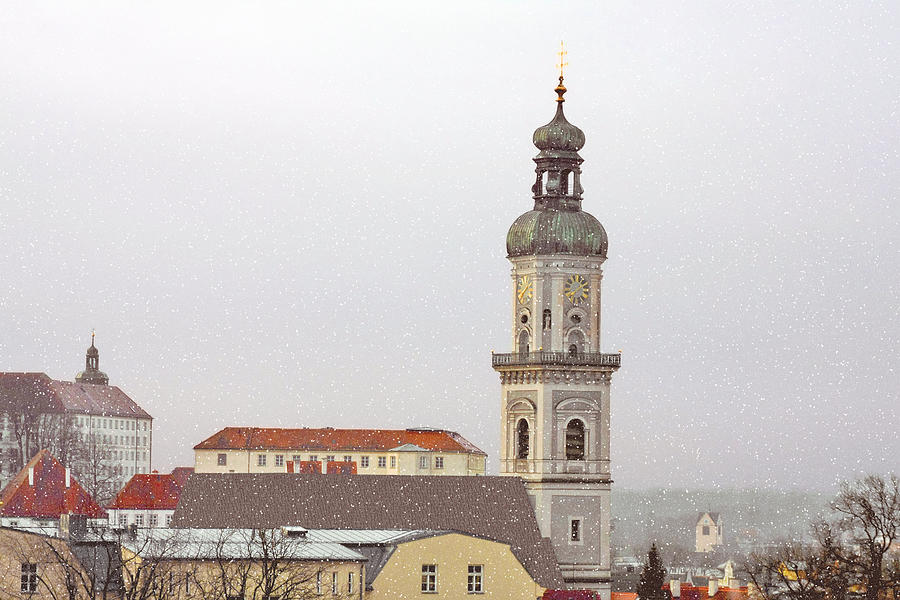 Freising Photograph - St. George In Snow - Freising Bavaria Germany by Christine Till