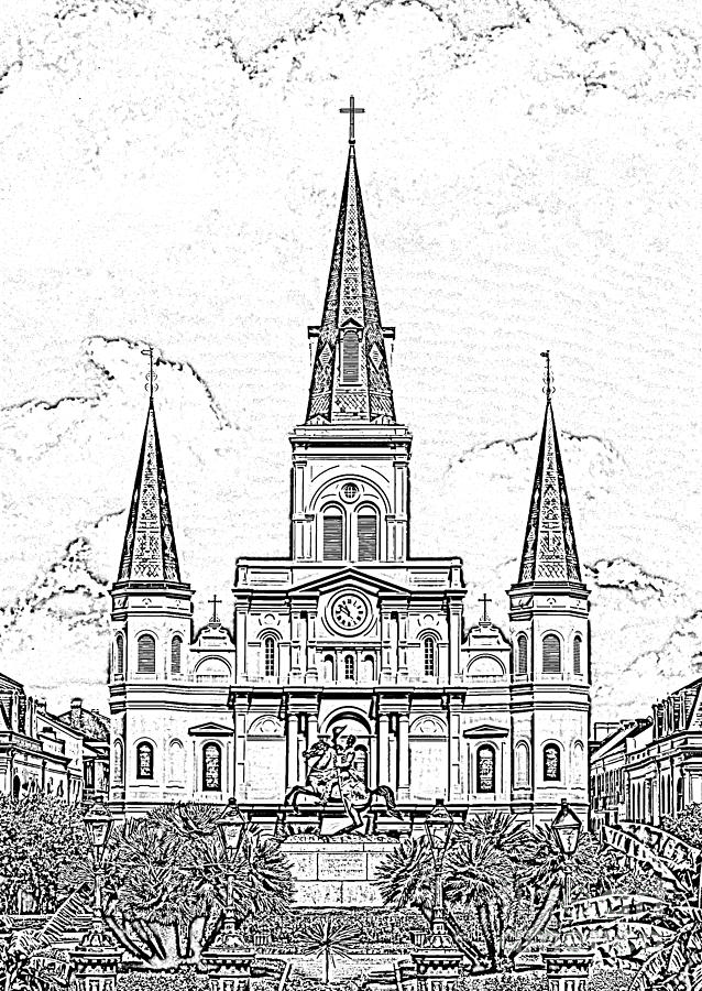 New orleans digital art st louis cathedral above jackson square new orleans black and white
