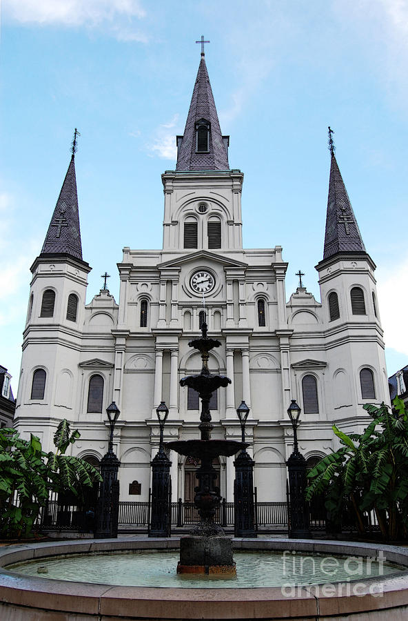 New Orleans Digital Art - St Louis Cathedral And Fountain Jackson Square French Quarter New Orleans Accented Edges Digital Art by Shawn OBrien