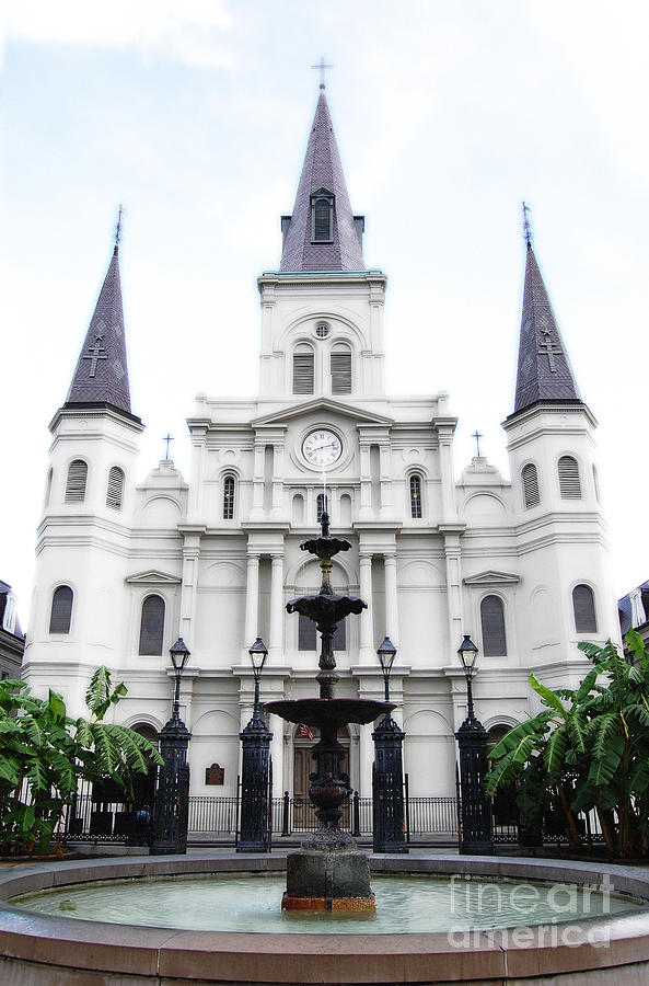 New Orleans Digital Art - St Louis Cathedral And Fountain Jackson Square French Quarter New Orleans Diffuse Glow Digital Art by Shawn OBrien