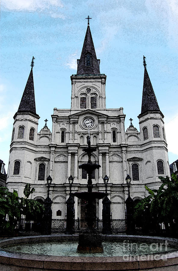New Orleans Digital Art - St Louis Cathedral And Fountain Jackson Square French Quarter New Orleans Fresco Digital Art by Shawn OBrien