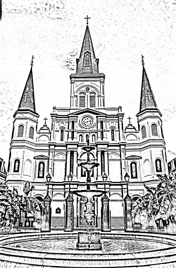 New Orleans Digital Art - St Louis Cathedral And Fountain Jackson Square French Quarter New Orleans Photocopy Digital Art by Shawn OBrien
