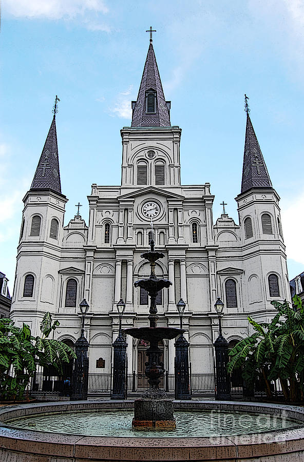 New Orleans Digital Art - St Louis Cathedral And Fountain Jackson Square French Quarter New Orleans Poster Edges Digital Art by Shawn OBrien