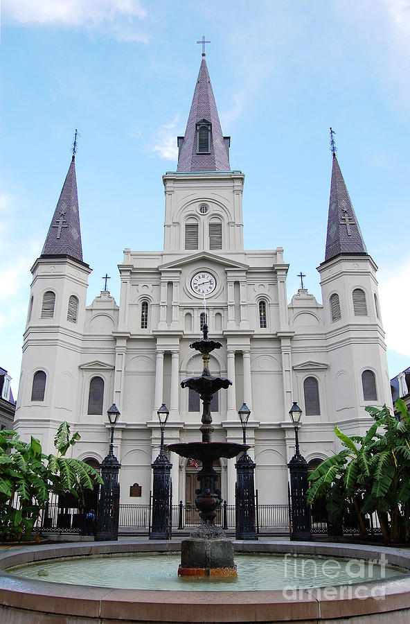 New Orleans Photograph - St Louis Cathedral And Fountain Jackson Square French Quarter New Orleans  by Shawn OBrien