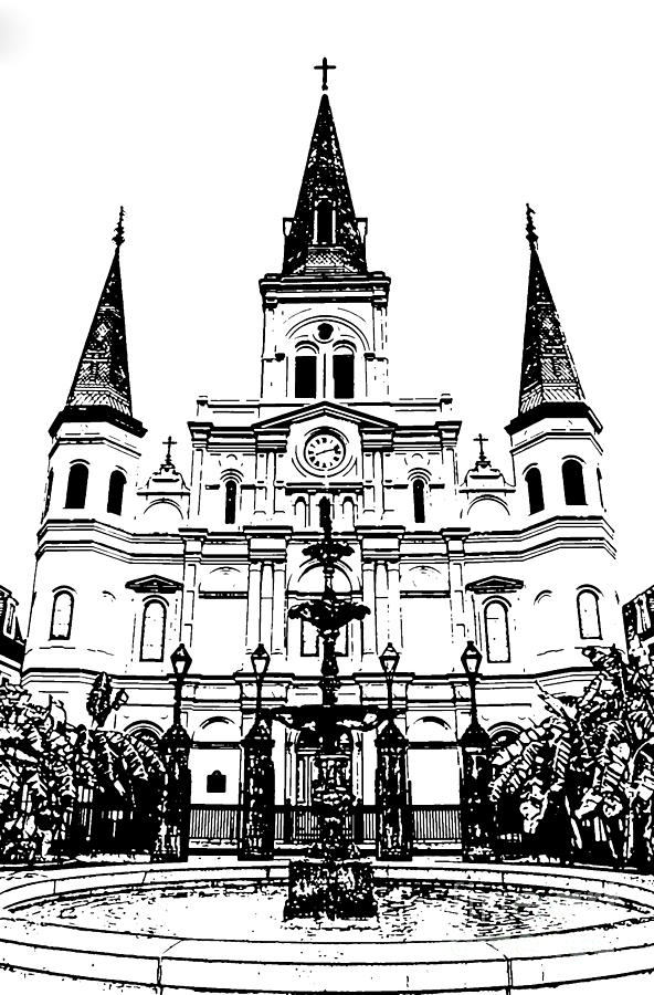 New Orleans Photograph - St Louis Cathedral And Fountain Jackson Square French Quarter New Orleans Stamp Digital Art by Shawn OBrien