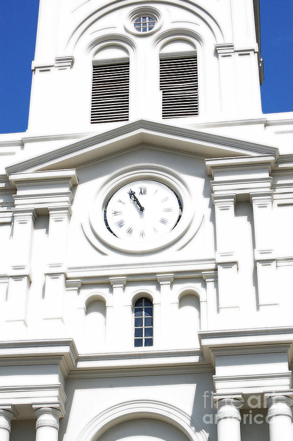 New Orleans Digital Art - St Louis Cathedral Clock Jackson Square French Quarter New Orleans Diffuse Glow Digital Art by Shawn OBrien