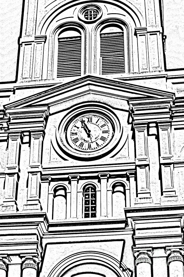 st louis cathedral clock jackson square new orleans black and white