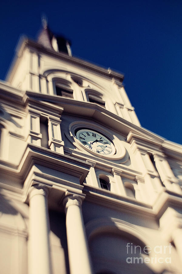 Clock Photograph - St Louis Cathedral by Erin Johnson