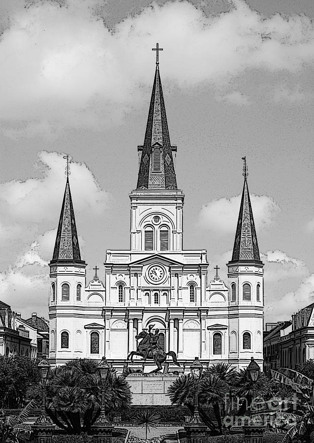 st louis cathedral rising above jackson square new orleans black and