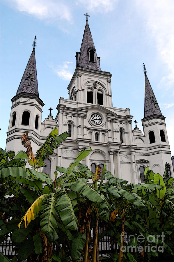 New Orleans Digital Art - St Louis Cathedral Rising Above Palms Jackson Square New Orleans Accented Edges Digital Art by Shawn OBrien