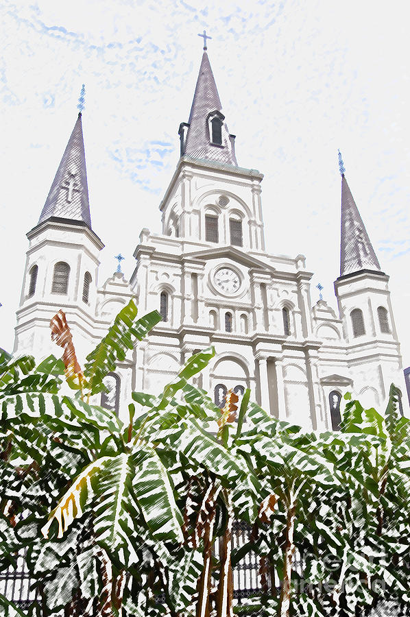 New Orleans Digital Art - St Louis Cathedral Rising Above Palms Jackson Square New Orleans Colored Pencil Digital Art by Shawn OBrien