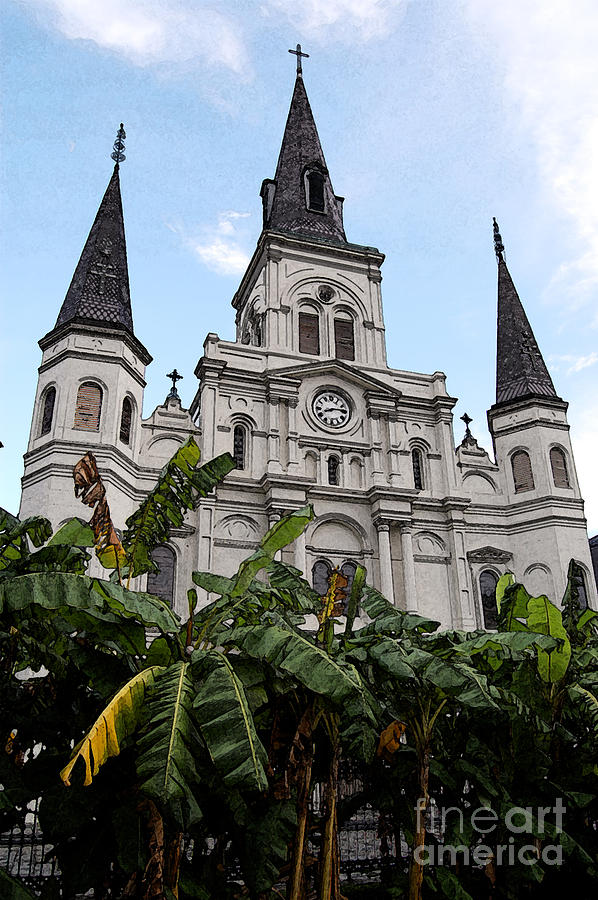 New Orleans Digital Art - St Louis Cathedral Rising Above Palms Jackson Square New Orleans Fresco Digital Art by Shawn OBrien