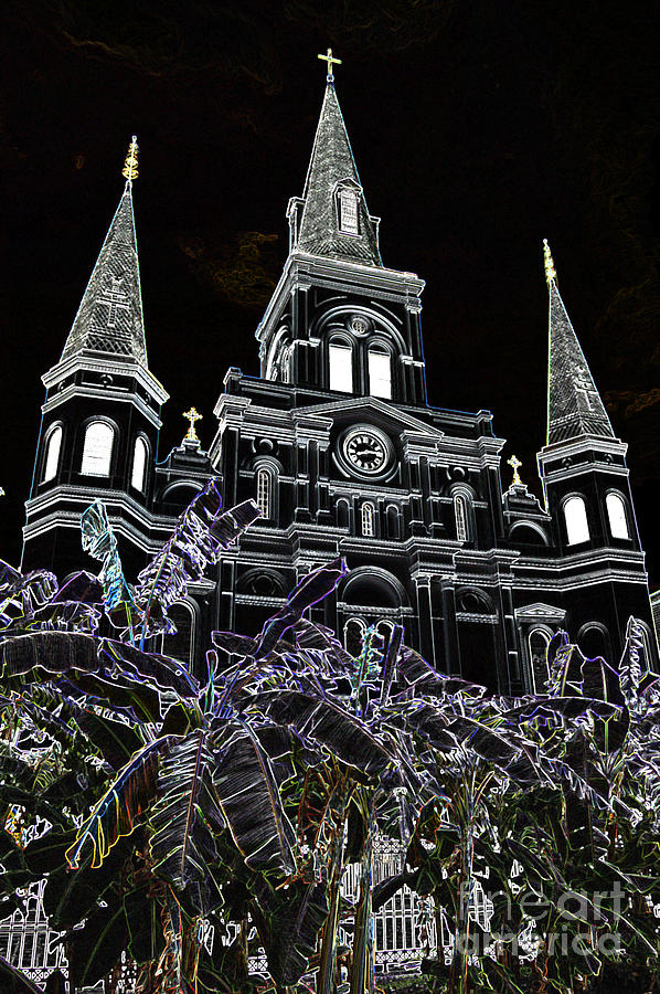 New Orleans Digital Art - St Louis Cathedral Rising Above Palms Jackson Square New Orleans Glowing Edges Digital Art by Shawn OBrien