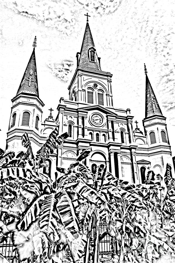 Travelpixpro New Orleans Digital Art - St Louis Cathedral Rising Above Palms Jackson Square New Orleans Photocopy Digital Art by Shawn OBrien