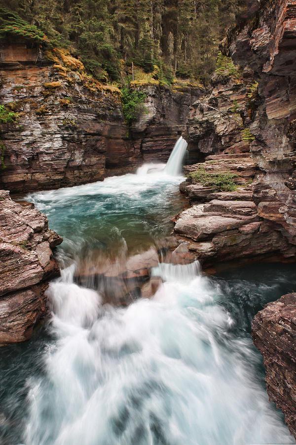Falls Photograph - St. Mary Falls Glacier National Park by Shari Jardina