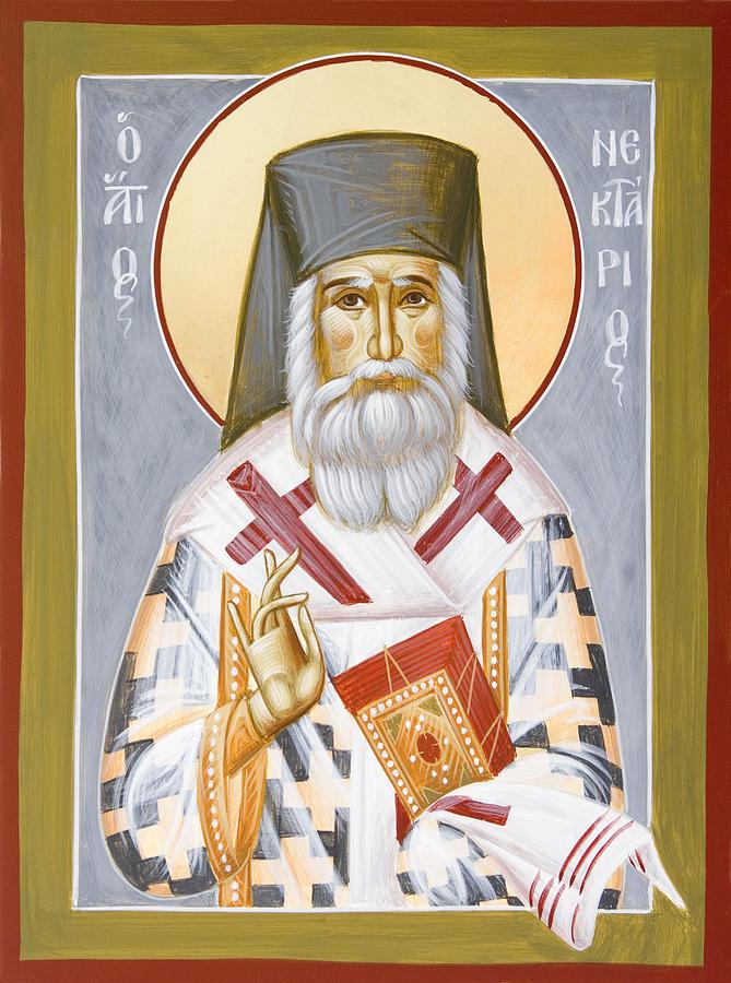 Icon Painting - St Nektarios by Julia Bridget Hayes
