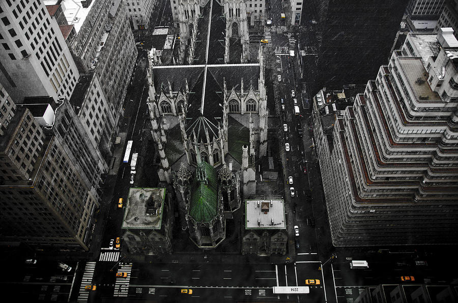 Palace Hotel Pyrography - St. Patricks Cathedral by Marcel Krasner