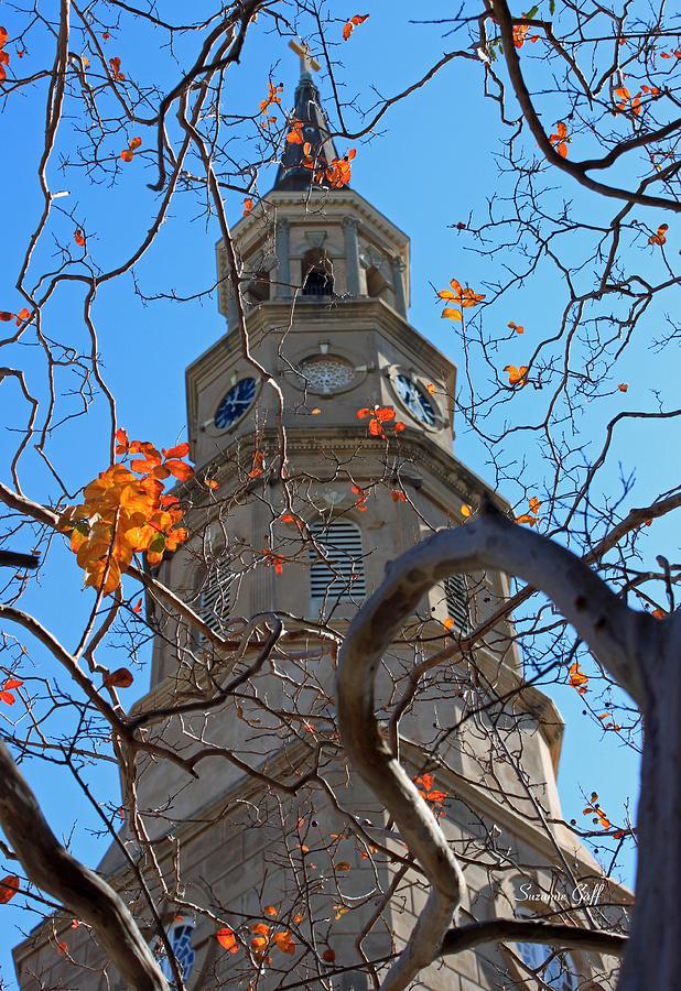 Steeple Photograph - St. Philips Church Steeple - Charleston Sc by Suzanne Gaff