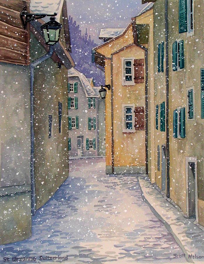 Switzerland Painting - St Ursanne In Snow by Scott Nelson