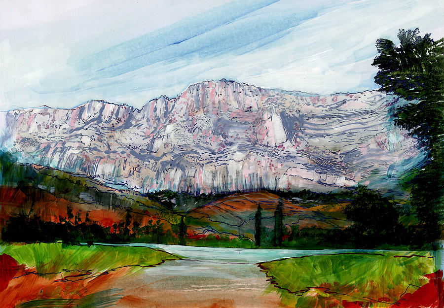 David Mixed Media - St Victoire Landscape by David Bates