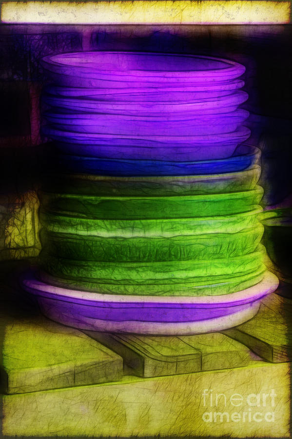 Purple Photograph - Stack Of Saucers by Judi Bagwell