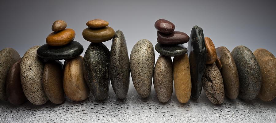 Pebble Photograph - Stacked River Stones by Steve Gadomski