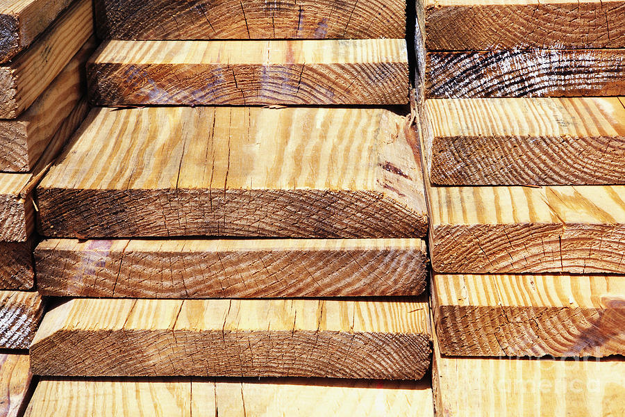 Building Photograph - Stacked Wooden Planks by Skip Nall