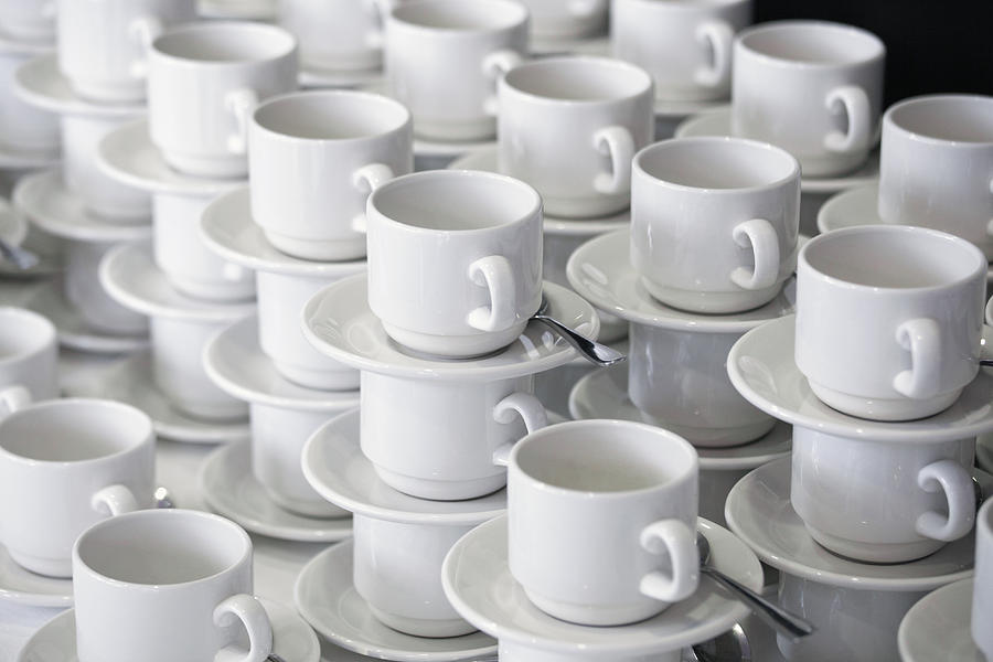 Horizontal Photograph - Stacks Of Cups And Saucers by Tobias Titz