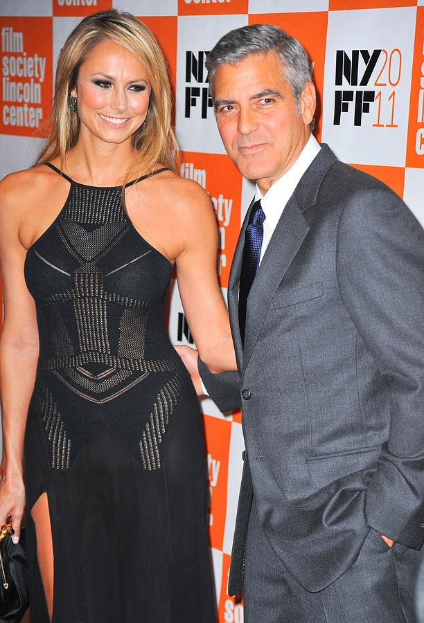 Stacy Keibler Photograph - Stacy Keibler, George Clooney by Everett