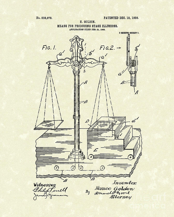 Goldin Drawing - Stage Illusions 1906 Patent Art by Prior Art Design